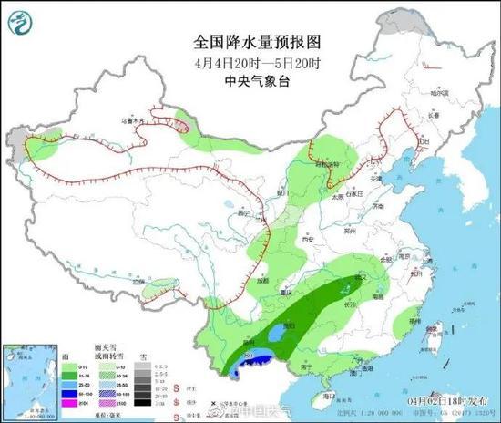 降雨预测图。图源:中国天气微博