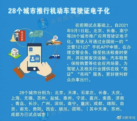 9月1日起 南昌等28个城市推行电子驾照