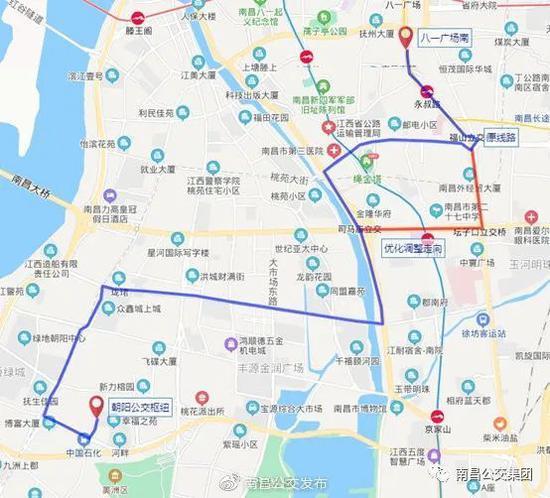 明起南昌多条公交线路调整 站前西路部分路段改单行