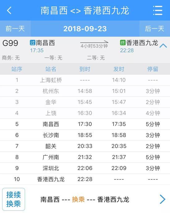 ▲G99次列车运行时刻表