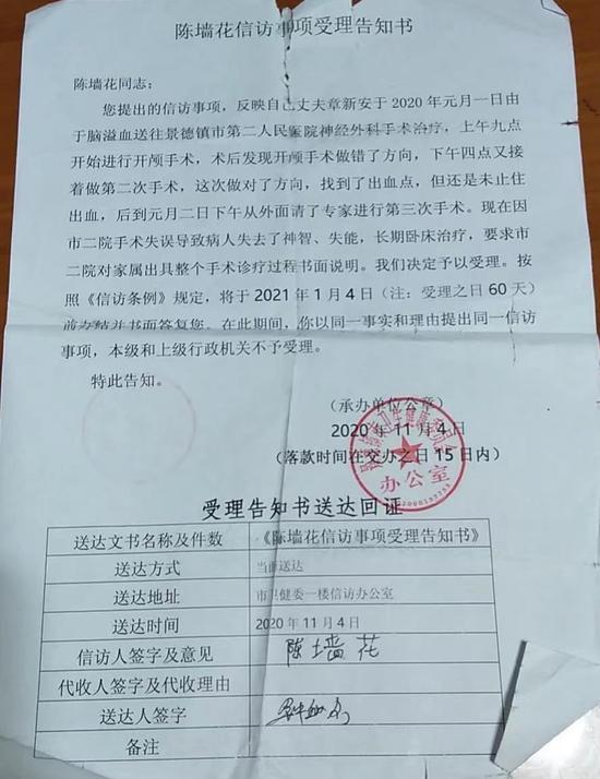 2020年11月4日,景德镇卫健委受理章新安妻子信访事项的告知书 。