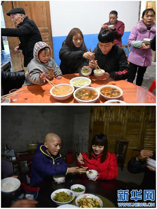 这是一张拼版照片,上图:黄林(中)给弟弟黄好夹菜(1月10日摄);下图:弟弟黄好在给黄林夹菜(2015年11月25日摄)。新华社记者 周密摄