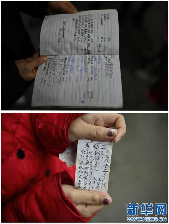 这是一张拼版照片,上图:黄林的笔记本上记满了一笔笔来自好心人的捐款记录(1月10日摄);下图:黄林拿着一张为弟弟治病求来的偏方(2015年11月24日摄)。新华社记者 周密摄