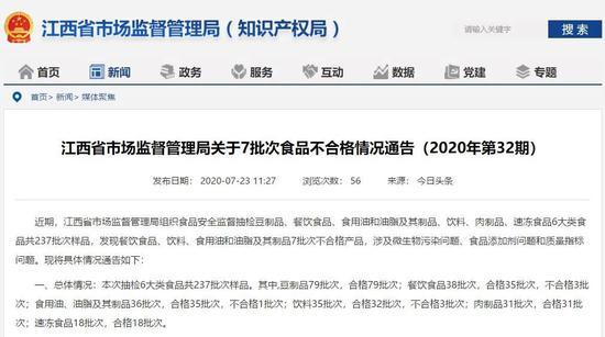 江西发布食品安全抽检结果:不出名火锅被点名