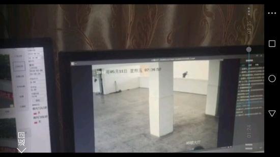 学生跳楼监控视频截图。