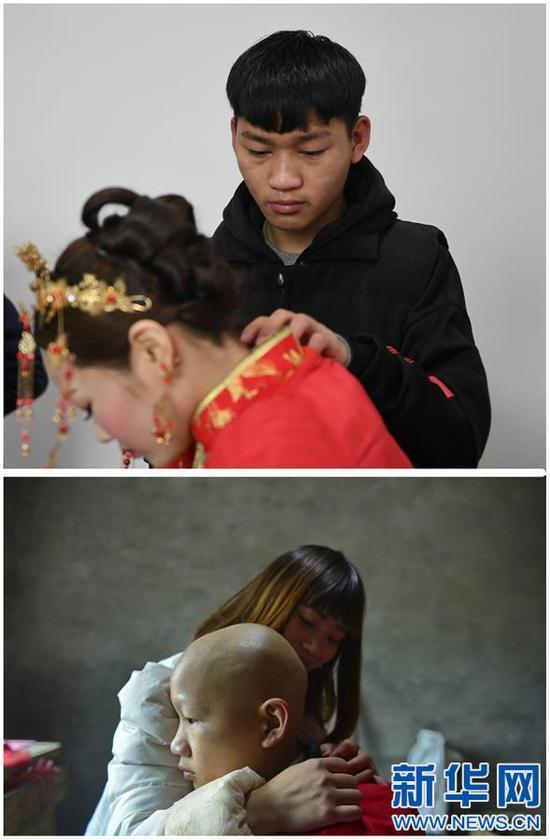 这是一张拼版照片,上图:黄好为姐姐黄林整理衣服,准备送她出门(1月11日摄);下图:黄林帮弟弟黄好整理衣服。因为化疗,黄好的头发和眉毛都掉光了(2015年11月25日摄)。新华社记者 周密摄