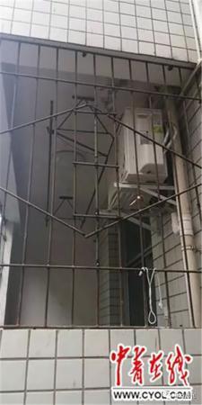 案发宿舍被剪断的防盗栏杆已恢复 受访者供图