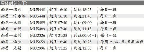 民航航班时刻换季 南昌新增至烟台哈尔滨等地航班