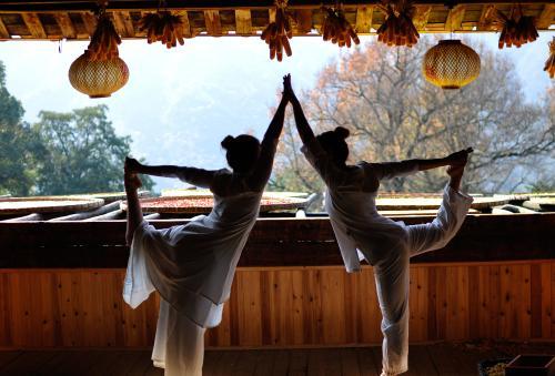 晒秋红枫与瑜伽相映成趣