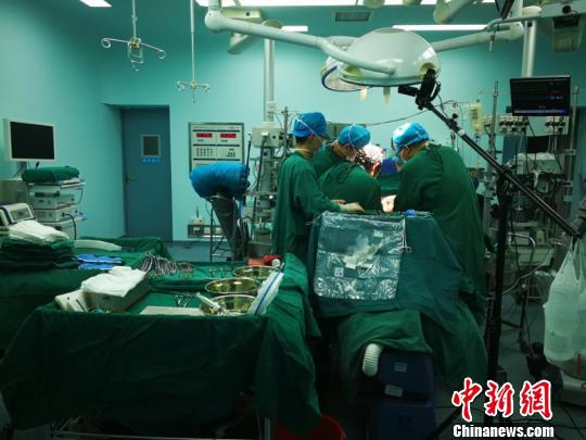 移植手术中。 安医大一附院供图