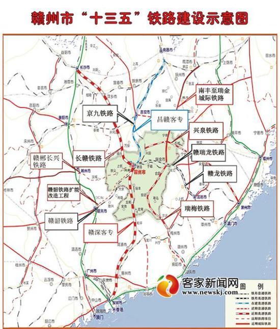 """赣州市""""十三五""""铁路建设规划示意图."""