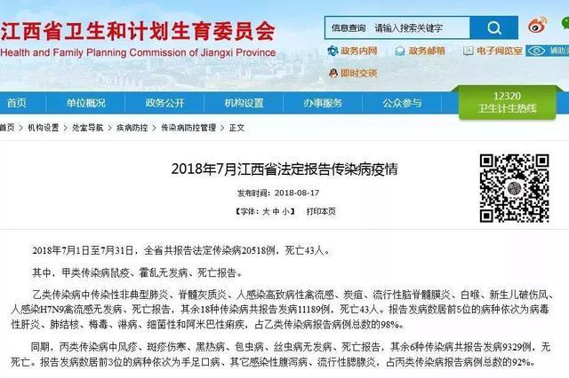 死亡43人!江西发布7月传染病疫情