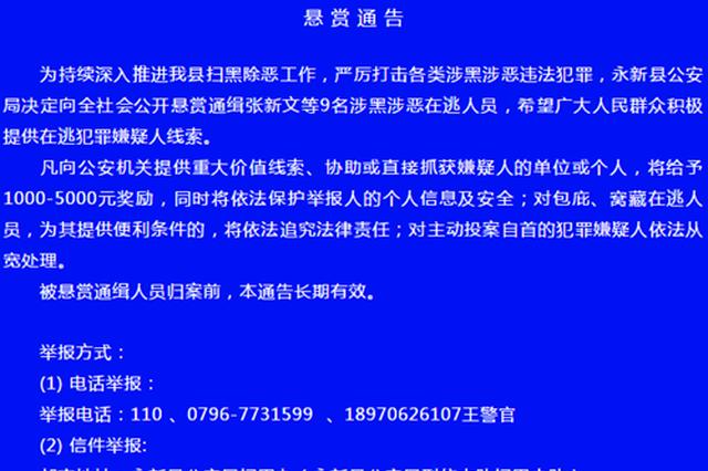 永新县公安悬赏通缉张新文等9名涉黑涉恶在逃人员