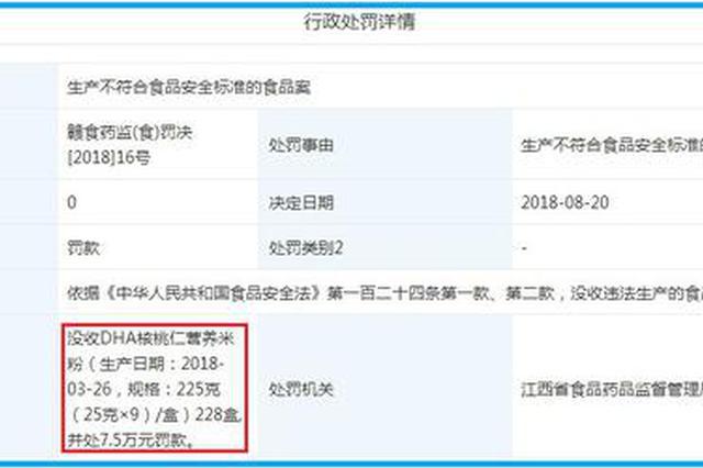 """江西每伴米粉菌落总数不合格上""""黑榜"""" 被罚7.5万元"""