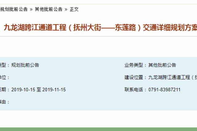 南昌九龙湖跨江通道详细规划来了