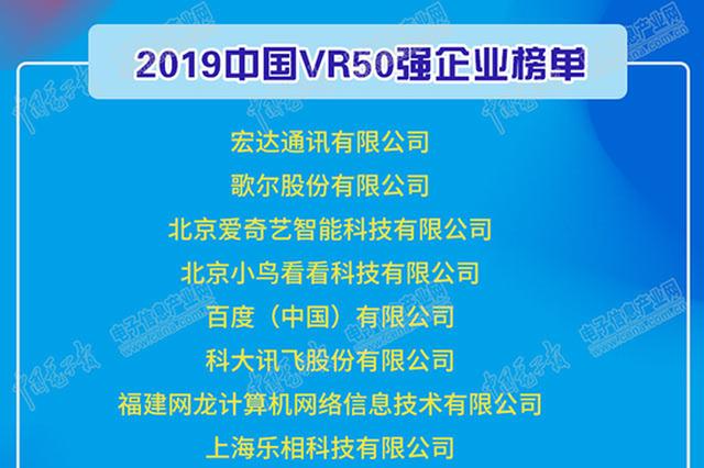 2019中国VR50强企业发布