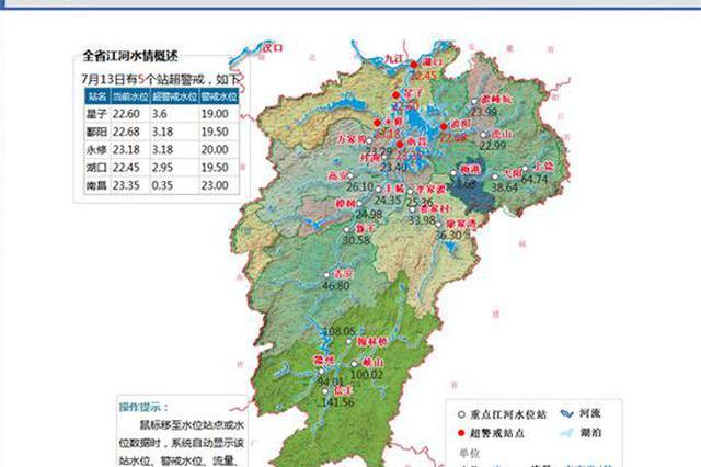 江西5个水文站今日超警 鄱阳湖水文站星子站超警3.6米