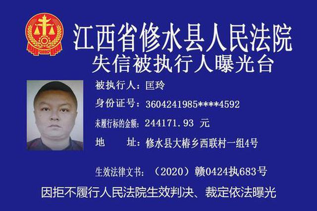修水县实名曝光一批失信被执行人 有你认识的吗?