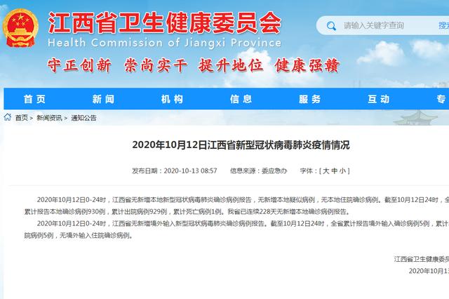 江西省已连续228天无新增本地确诊病例报告
