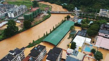暴雨致内涝 航拍崇义县城区积水