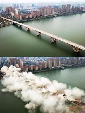 航拍吉安赣江大桥老桥成功爆破瞬间