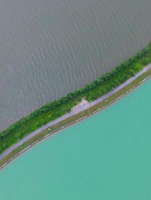 瑶湖双色景观 一半灰色一半碧绿