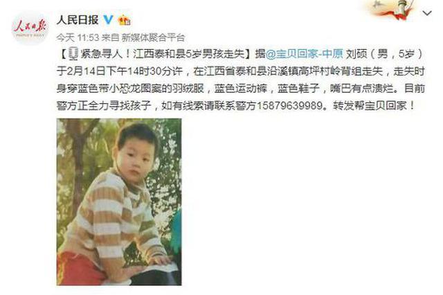 泰和县一5岁男孩除夕前夕走失 家人急疯了