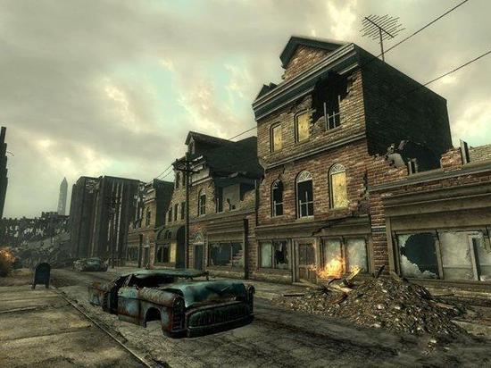 地上的世界里破旧的房屋车辆