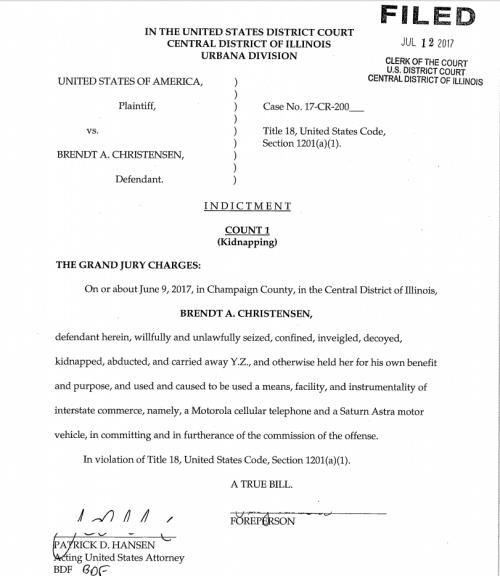 克里斯滕森起訴書。