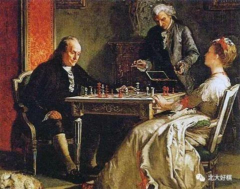 这是一幅画,画面上富兰克林正同卡罗琳·豪维夫人下国际象棋