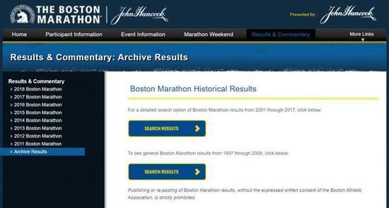 """在""""Archive Results""""里面可以查询从2001年开始到最新的每一年的成绩。"""