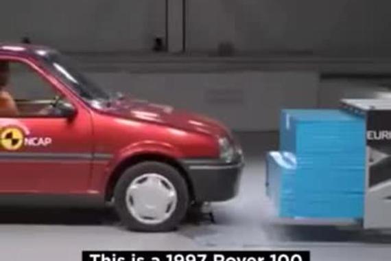 视频:汽车工业,小型车碰撞安全的进步。