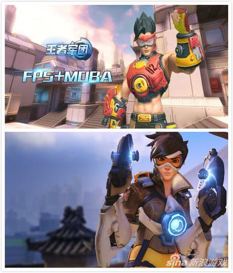 游戏中的英雄与猎空对比,装备如出一辙,发型也有些许相同