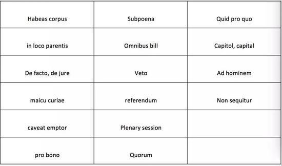 来自拉丁文的法律和政治词汇
