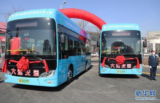 大连首批氢燃料电池公交车上线。(辽宁自贸区大连片区供图)