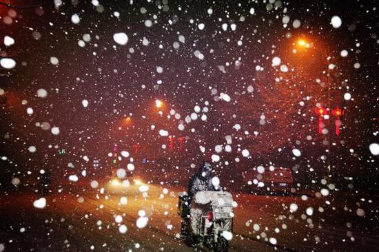 28日夜间,沈阳北部大雪纷飞(夏维江 摄)