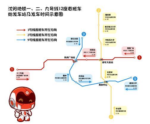 沈阳地铁一、二、九号线12座首班车始发站及发车时间示意图