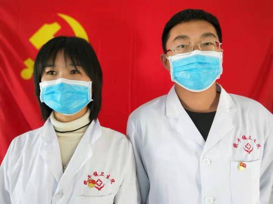 防疫战场的夫妻档:高倩(左)和井源(右)