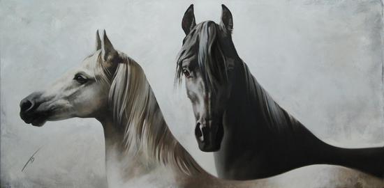 巴扎诺娃《黑马和白马》 60cmх120cm