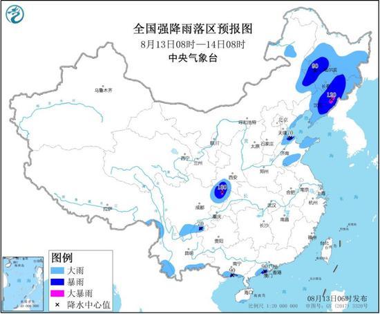 中央气象台发布暴雨黄色预警 辽宁东部有大暴雨