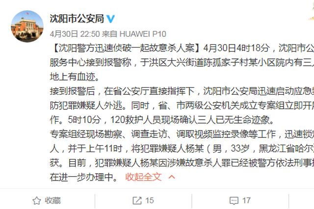 哈尔滨男子在沈阳杀死三人 被警方迅速锁定抓获