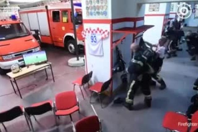 敬业!世界杯关键点球前火警铃突然响起 克罗地亚消防员光速出