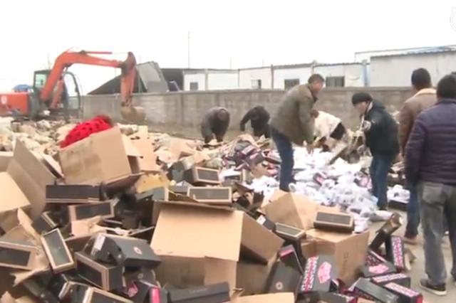 警方销毁50余万双假名牌运动鞋 涉案金额6亿
