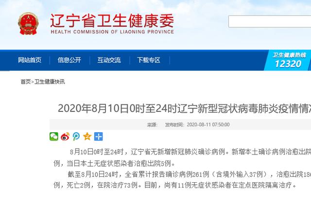 2020年8月10日0时至24时辽宁新型冠状病毒肺炎疫情情况