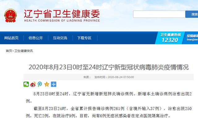 8月23日0时至24时辽宁新型冠状病毒肺炎疫情情况