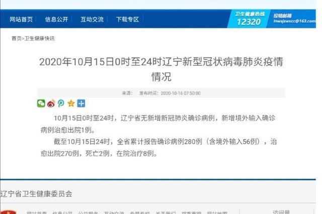 10月15日辽宁省无新增新冠肺炎确诊病例