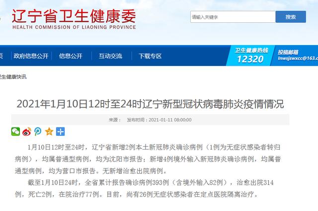 1月10日辽宁省新增2例本土新冠肺炎确诊病例