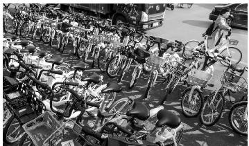 在沈阳惠工广场附近一处停放点,各种共享单车有序停放。辽沈晚报、聊沈客户端记者查金辉摄