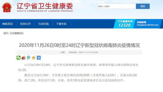 2020-12-020时至24时辽宁新型冠状病毒肺炎疫情情况