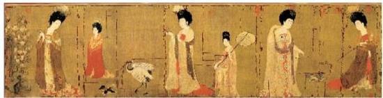 《簪花仕女图》原为单幅绢画,后拼接而成(图中虚线部分为接缝)